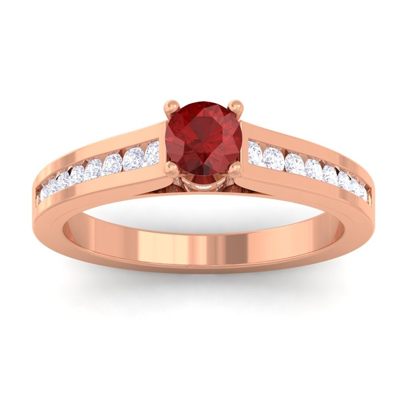 Red-Garnet-IJ-SI-Round-Diamond-Women-Gemstone-Wedding-Ring-10K-Rose-Gold