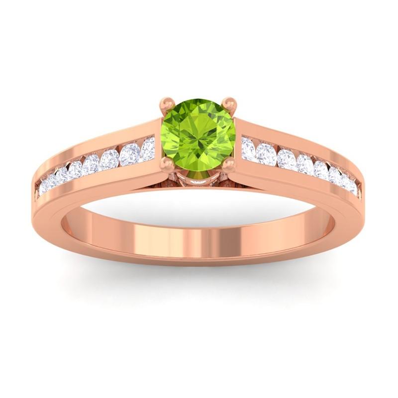 Green-Peridot-FG-SI-Round-Diamond-Women-Gemstone-Wedding-Ring-10K-Rose-Gold
