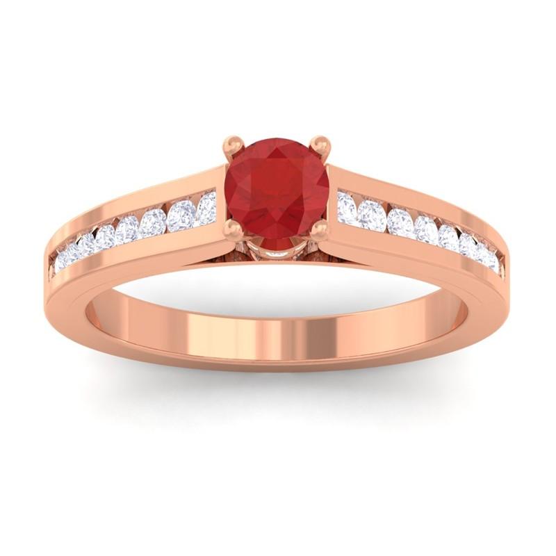 Red-Ruby-IJ-SI-Round-Diamond-Women-Gemstone-Wedding-Ring-18K-Rose-Gold