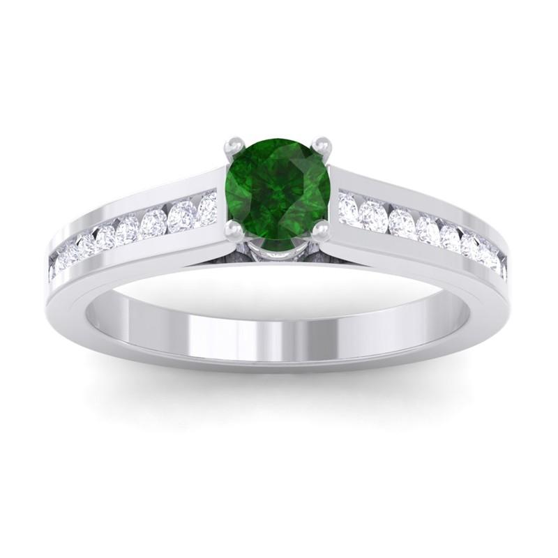 Green-Emerald-IJ-SI-Round-Diamond-Women-Gemstone-Wedding-Ring-14K-White-Gold