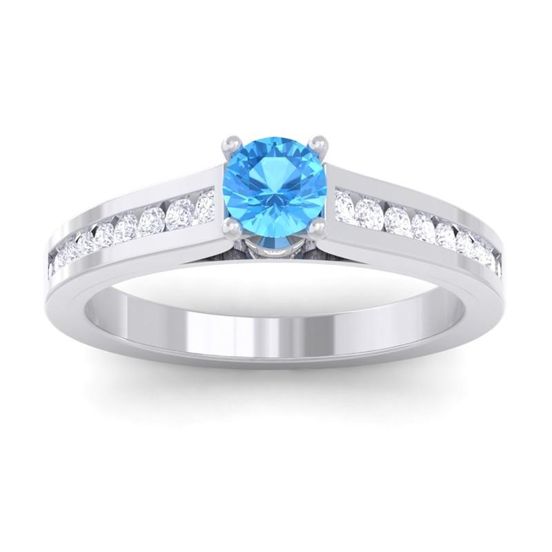 Blue-Topaz-IJ-SI-Round-Diamond-Women-Gemstone-Wedding-Ring-14K-White-Gold