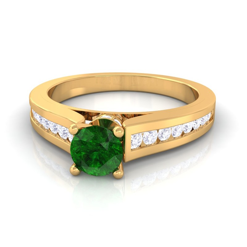 Green-Emerald-GH-VS-Round-Diamond-Women-Gemstone-Wedding-Ring-Yellow-Gold