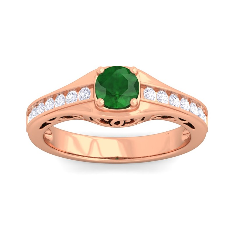 Green-Emerald-FG-SI-Sparkle-Gemstone-Real-Diamonds-Women-Ring-10K-Rose-Gold