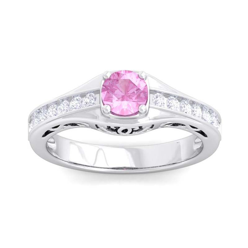 Pink-Sapphire-FG-SI-Sparkle-Gemstone-Real-Diamonds-Women-Ring-14K-White-Gold