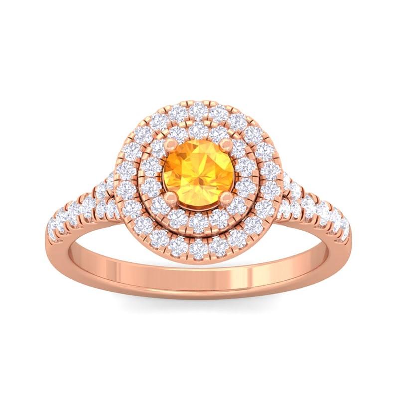 Orange-Citrine-FG-SI-Real-Gemstone-Diamonds-Halo-Wedding-Ring-14K-Rose-Gold