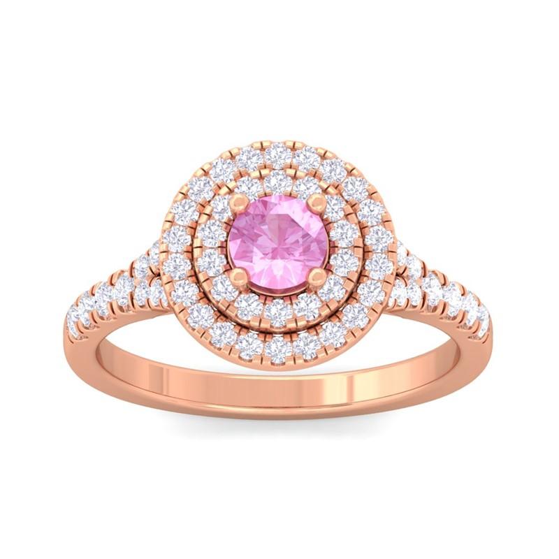 Pink-Sapphire-FG-SI-Real-Gemstone-Diamonds-Halo-Wedding-Ring-14K-Rose-Gold