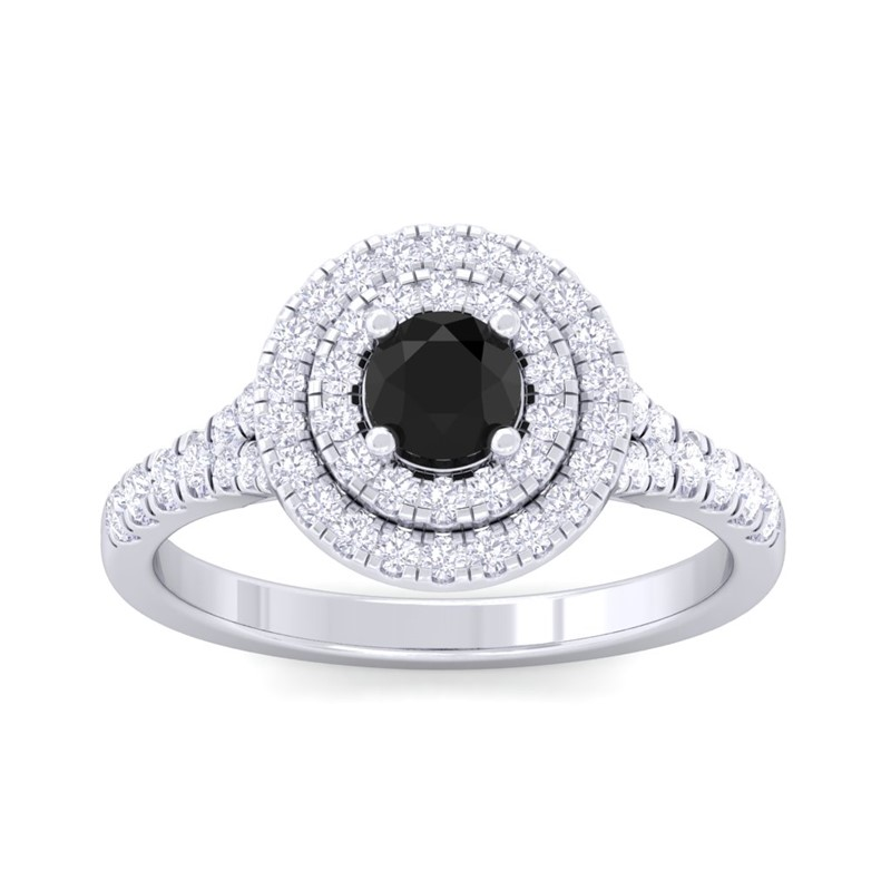 Black-Onyx-IJ-SI-Real-Gemstone-Diamonds-Halo-Wedding-Ring-14K-White-Gold