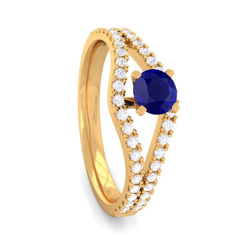 Blue-Sapphire-FG-SI-Gemstone-Ring-Fine-Diamond-Twisted-Layer-18K-Gold