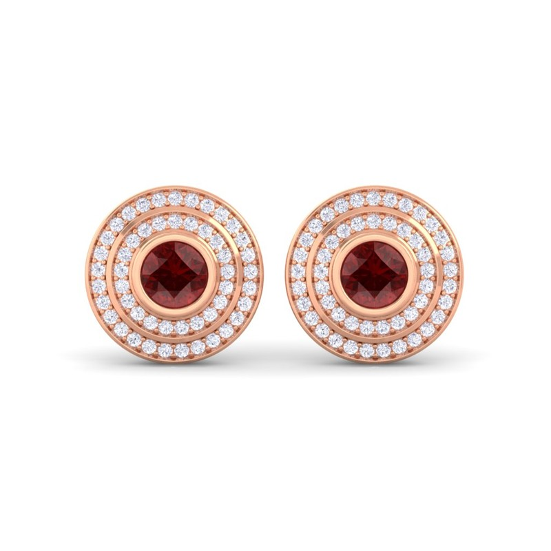 Red-Garnet-FG-SI-Diamonds-Round-Gem-Stud-Earrings-Women-14K-Rose-Gold