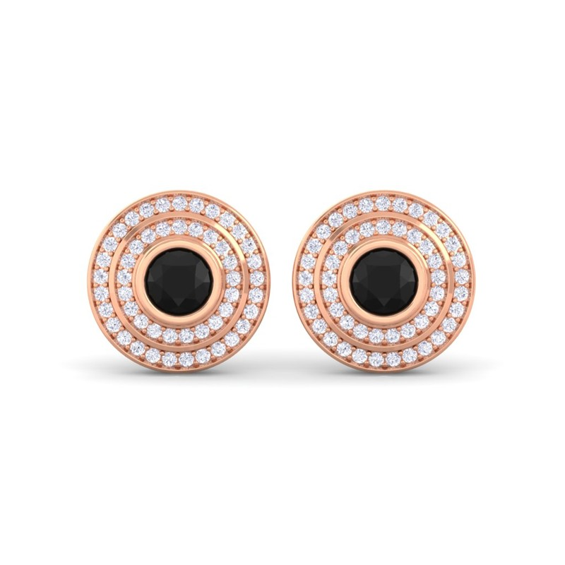 Black-Onyx-FG-SI-Diamonds-Round-Gem-Stud-Earrings-Women-18K-Rose-Gold