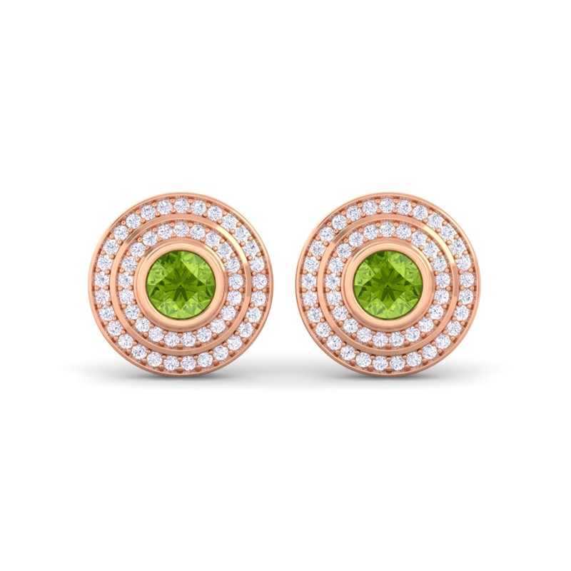 Green-Peridot-FG-SI-Diamonds-Round-Gem-Stud-Earrings-Women-14K-Rose-Gold