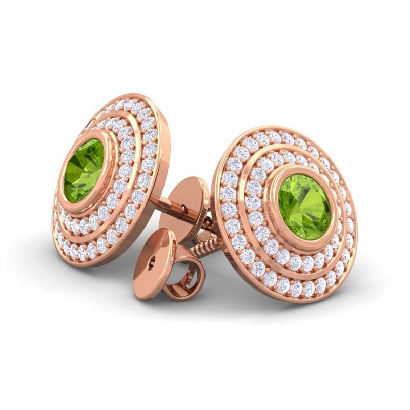 Green-Peridot-FG-SI-Diamonds-Round-Gem-Stud-Earrings-Women-18K-Gold
