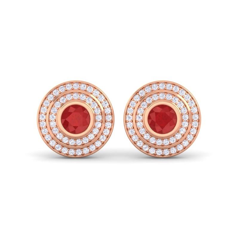 Red-Ruby-FG-SI-Diamonds-Round-Gem-Stud-Earrings-Women-18K-Rose-Gold