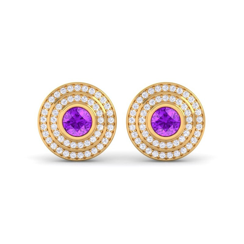 Purple-Amethyst-FG-SI-Diamonds-Round-Gem-Stud-Earrings-Women-14K-Yellow-Gold