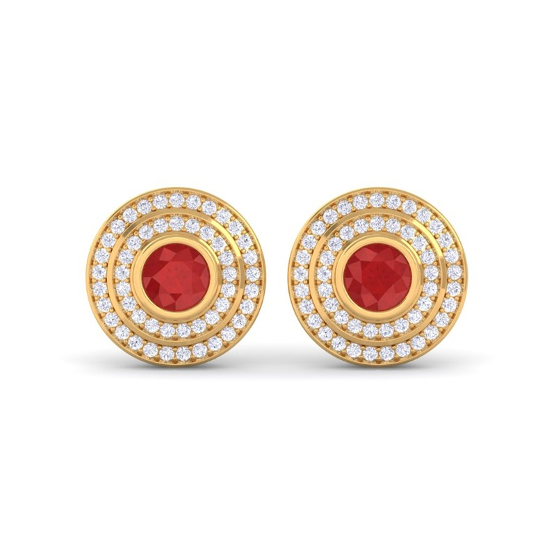 Red-Ruby-IJ-SI-Diamonds-Round-Gem-Stud-Earrings-Women-18K-Yellow-Gold