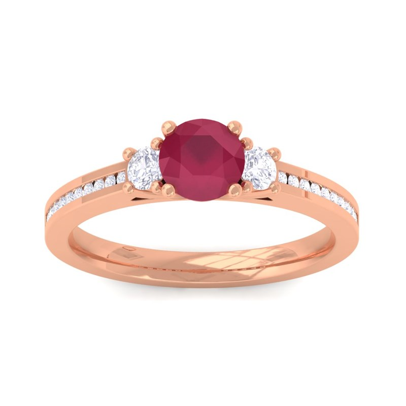 Red-Ruby-FG-SI-Diamonds-Womens-Solitaire-Engagement-Ring-18K-Rose-Gold