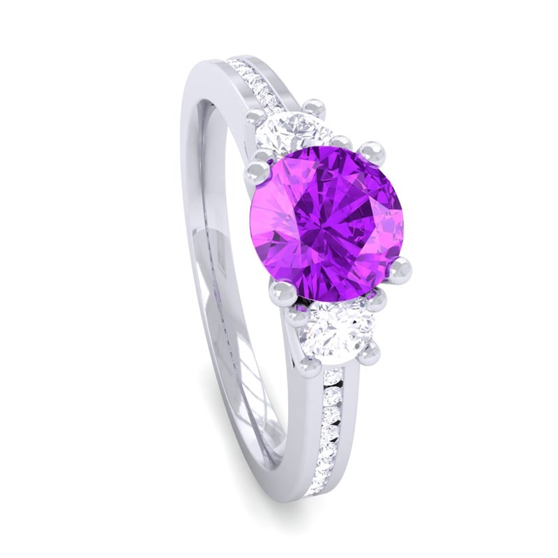 purple amethyst ij si diamonds womens solitaire engagement