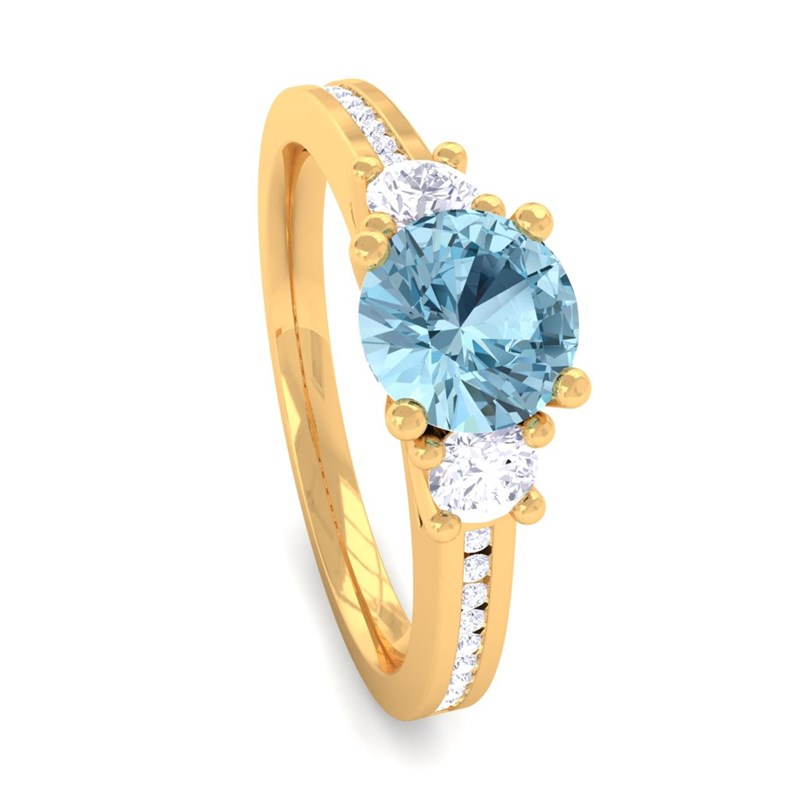 Blue-Topaz-IJ-SI-Diamonds-Womens-Solitaire-Engagement-Ring-Yellow-Gold