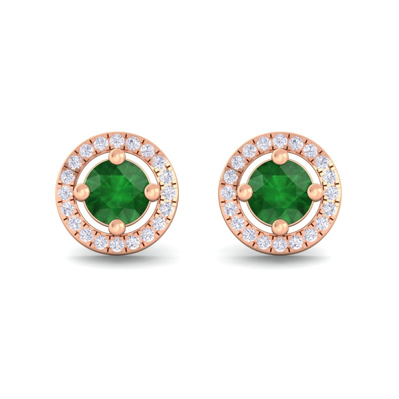 Green-Emerald-FG-SI-Diamond-Halo-Gemstone-Stud-Earring-Women-14K-Rose-Gold