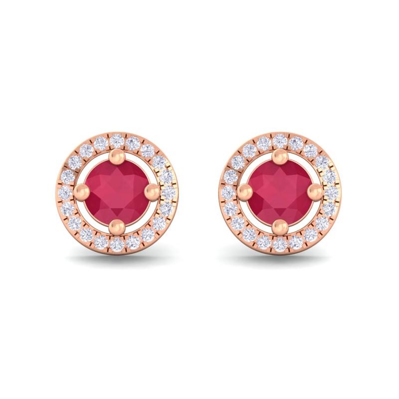 Red-Ruby-FG-SI-Diamond-Halo-Gemstone-Stud-Earring-Women-18K-Rose-Gold