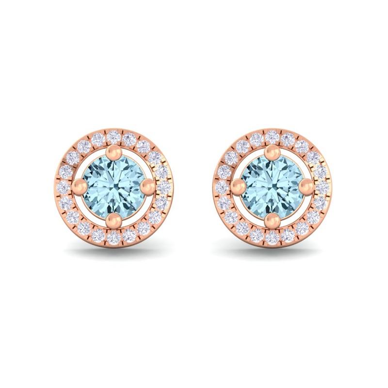 Blue-Topaz-FG-SI-Diamond-Halo-Gemstone-Stud-Earring-Women-18K-Rose-Gold