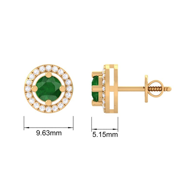 Green-Emerald-IJ-SI-Diamond-Halo-Gemstone-Stud-Earring-Women-Yellow-Gold