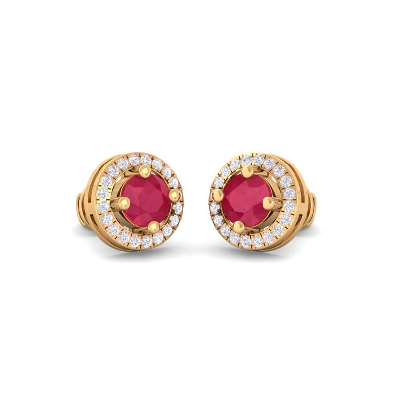 Red-Ruby-IJ-SI-Diamond-Halo-Gemstone-Stud-Earring-Women-Yellow-Gold
