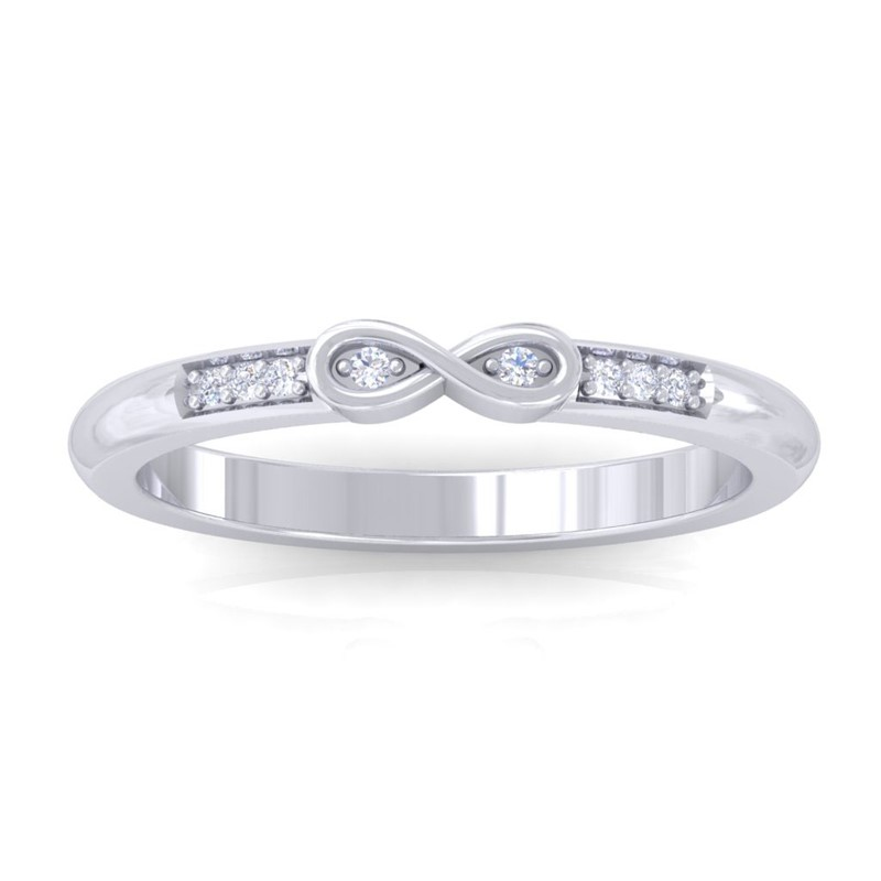 0-04ct-FG-SI-Diamonds-Womens-Infinity-Ring-Perfect-Gift-Solid-14K-White-Gold