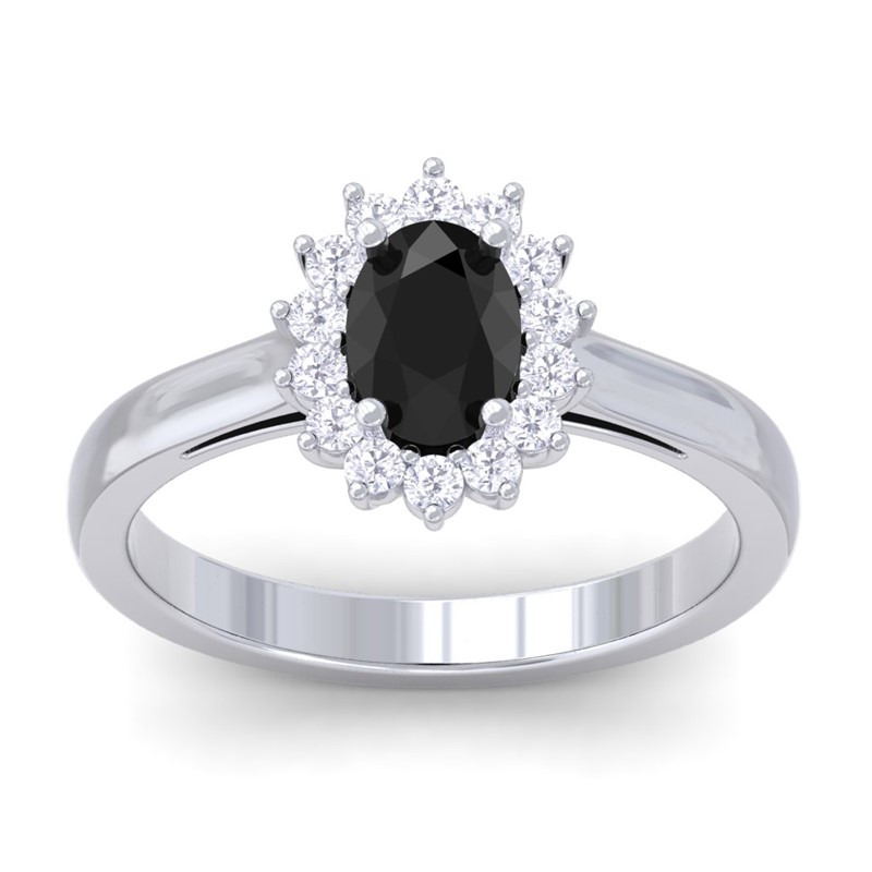 BLACK ONYX & Diamond Solitaire Engagement Ring 10K White Gold Katem