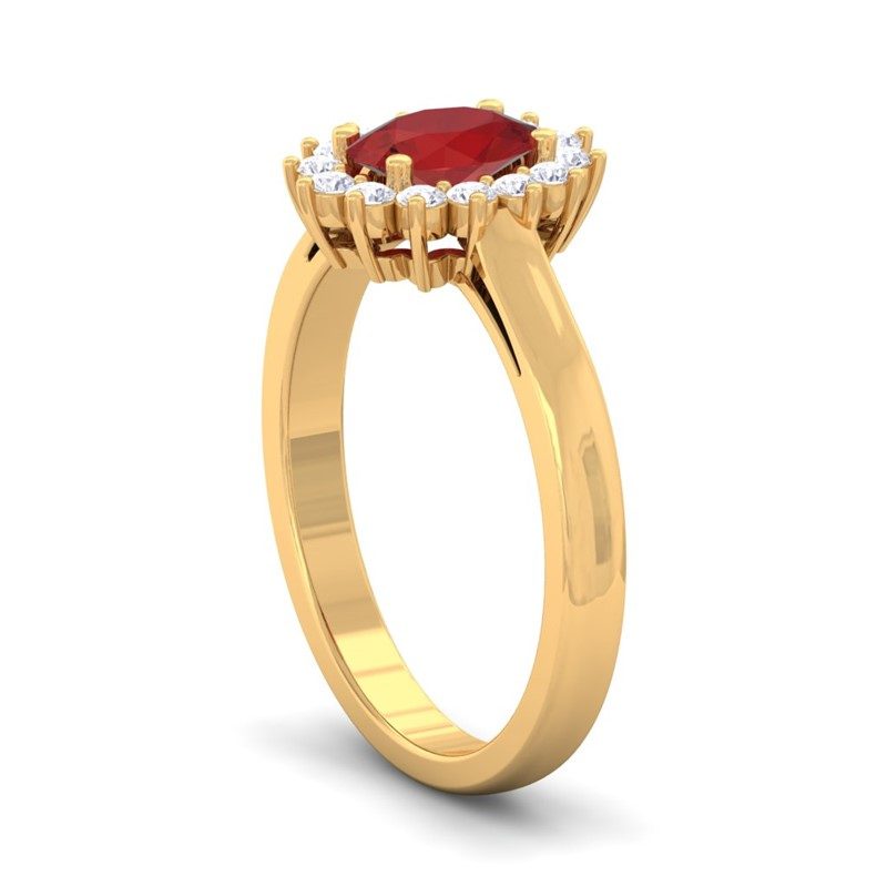 K White Gold Diamond And Ruby Ring