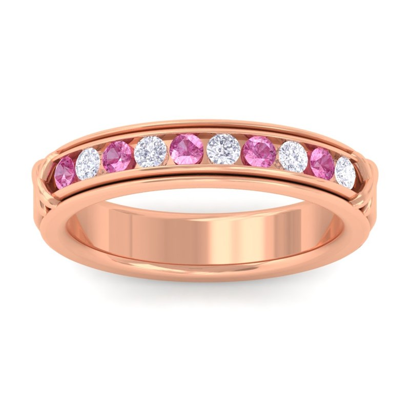 Pink-Sapphire-FG-SI-Fine-Diamonds-Half-Eternity-Womens-Band-10K-Rose-Gold