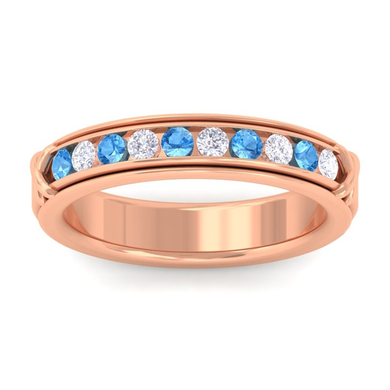 Blue-Topaz-FG-SI-Fine-Diamonds-Half-Eternity-Womens-Band-10K-Rose-Gold