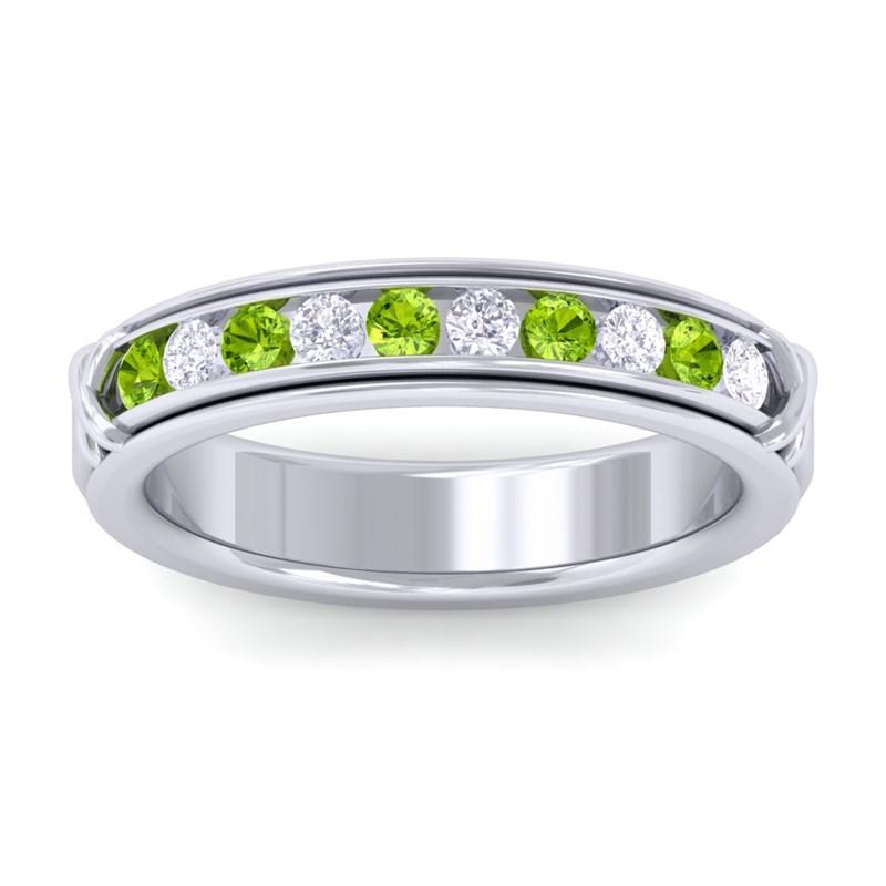 Green-Peridot-IJ-SI-Fine-Diamonds-Half-Eternity-Womens-Band-10K-White-Gold