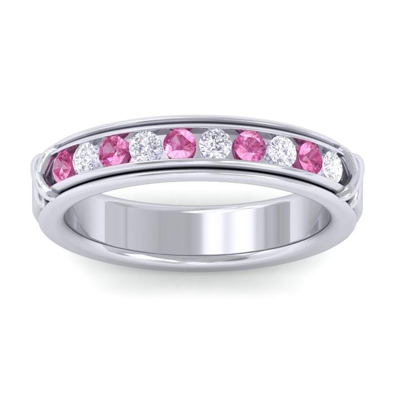 Pink-Sapphire-IJ-SI-Fine-Diamonds-Half-Eternity-Womens-Band-14K-White-Gold