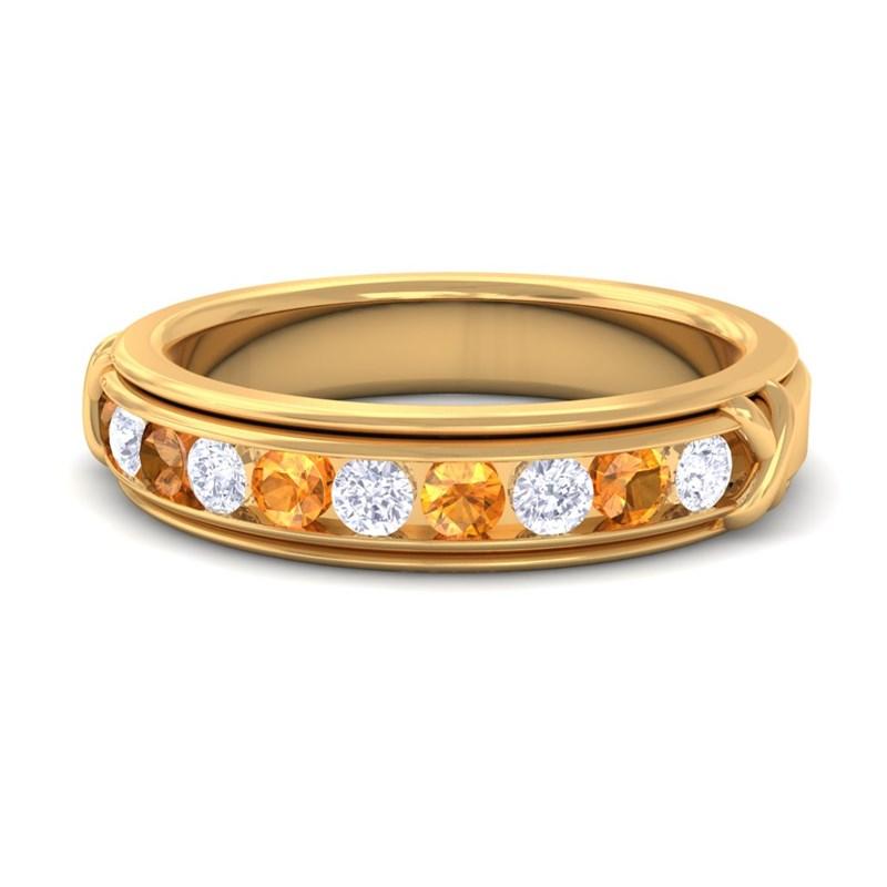 Orange-Citrine-GH-VS-Fine-Diamonds-Half-Eternity-Womens-Band-Yellow-Gold
