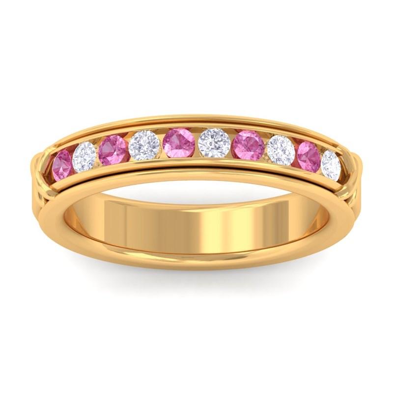 Pink-Sapphire-IJ-SI-Fine-Diamonds-Half-Eternity-Womens-Band-18K-Yellow-Gold