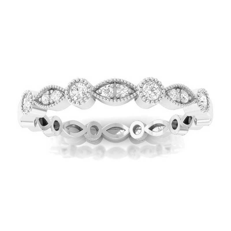0-09ct-FG-SI-Fine-Diamond-Miligrain-Eternity-Wedding-Ring-Women-10K-White-Gold