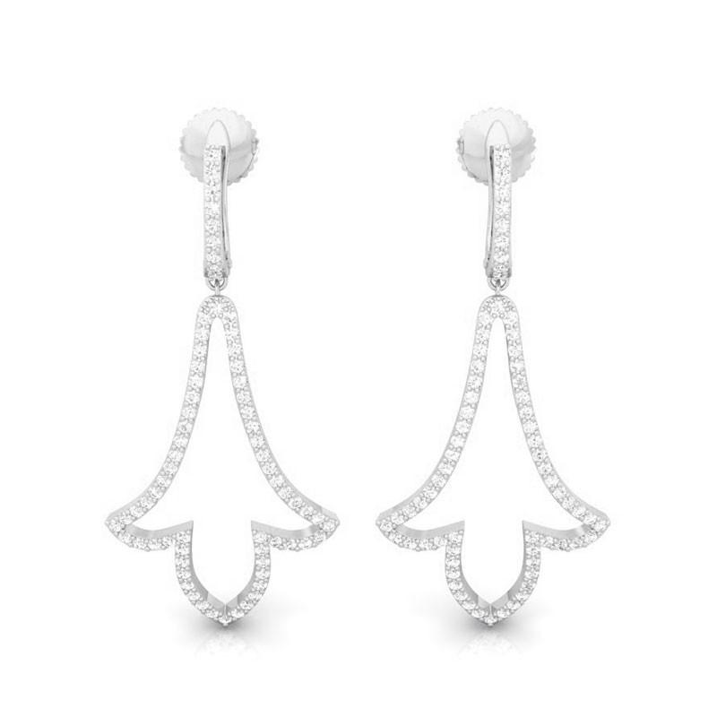 0-63ct-FG-SI-Natural-Diamonds-Womens-Sparkling-Drop-Earrings-18K-White-Gold