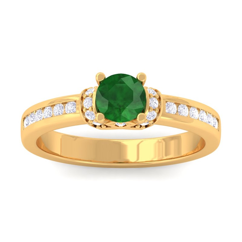 Green-Emerald-IJ-SI-Channel-Diamonds-Engagement-Ring-Women-10K-Yellow-Gold