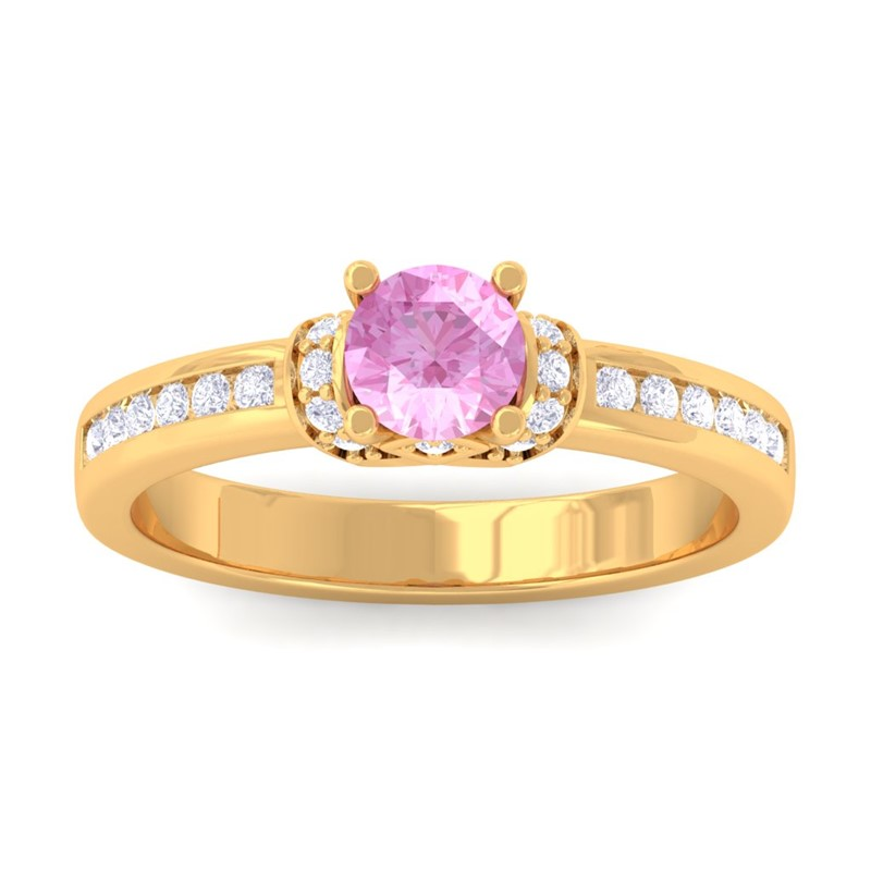 Pink-Sapphire-IJ-SI-Channel-Diamonds-Engagement-Ring-Women-10K-Yellow-Gold