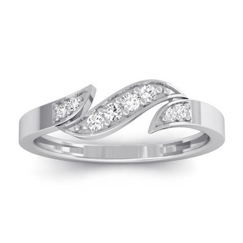 0-07ct-Fine-Round-Diamonds-Fashion-Delicate-Ring-Women-Glossy-18K-White-Gold