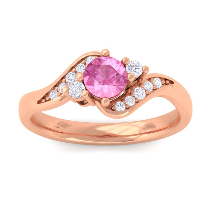 Pink-Sapphire-Gemstone-Round-Diamond-Engagement-Ring-Women-18K-Rose-Gold