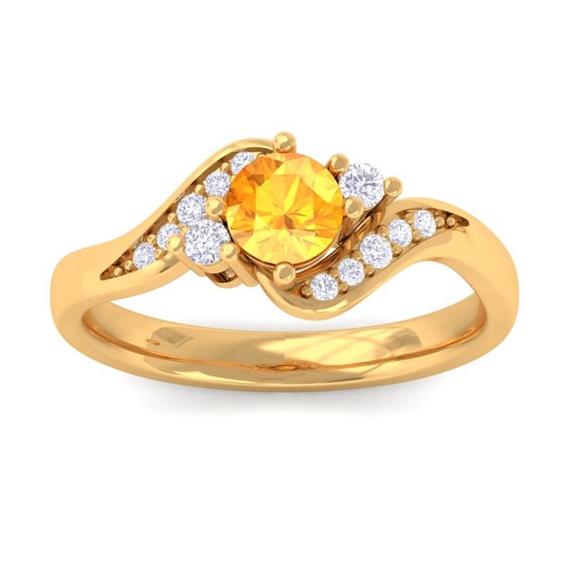 Orange-Citrine-IJ-SI-Natural-Gemstone-Diamond-Engagement-Ring-10K-Yellow-Gold