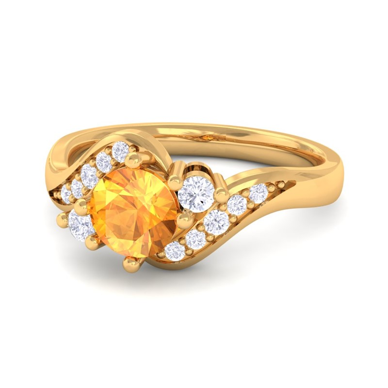 orange citrine fg si gemstone engagement