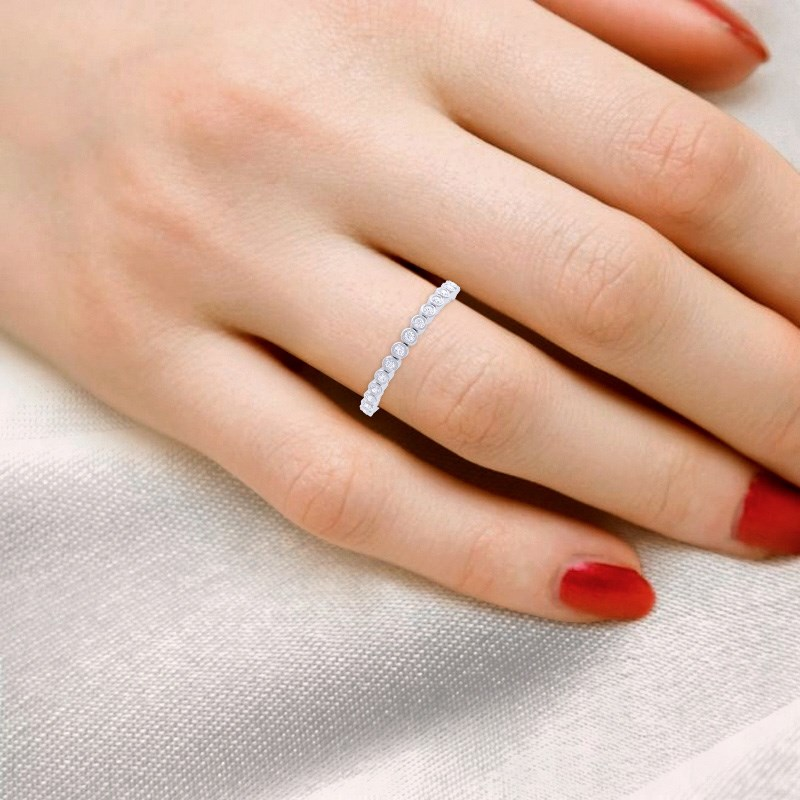 0-09ct-FG-SI-Natural-Round-Diamonds-Half-Eternity-Ring-Women-10K-Solid-Gold