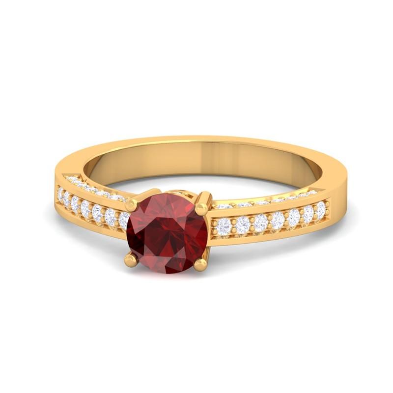 Red-Garnet-FG-SI-Solitaire-Gems-Diamonds-Engagement-Ring-14K-Gold