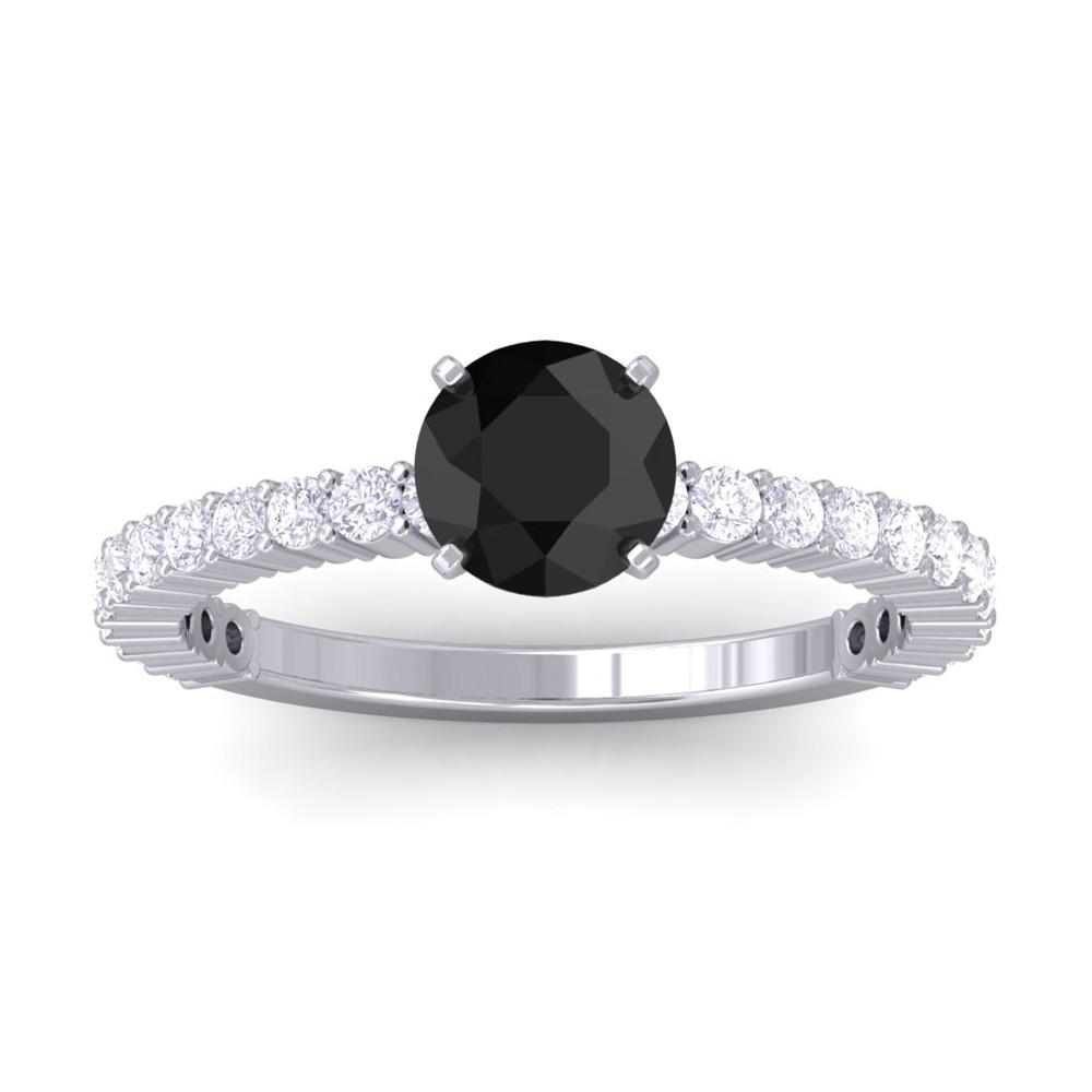 Black Diamond Round Diamond Engagement Ring Women 10K White Gold Marnie