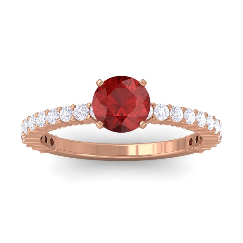 Red-Garnet-FG-SI-Diamonds-Womens-Gemstone-Anniversary-Ring-18K-Rose-Gold