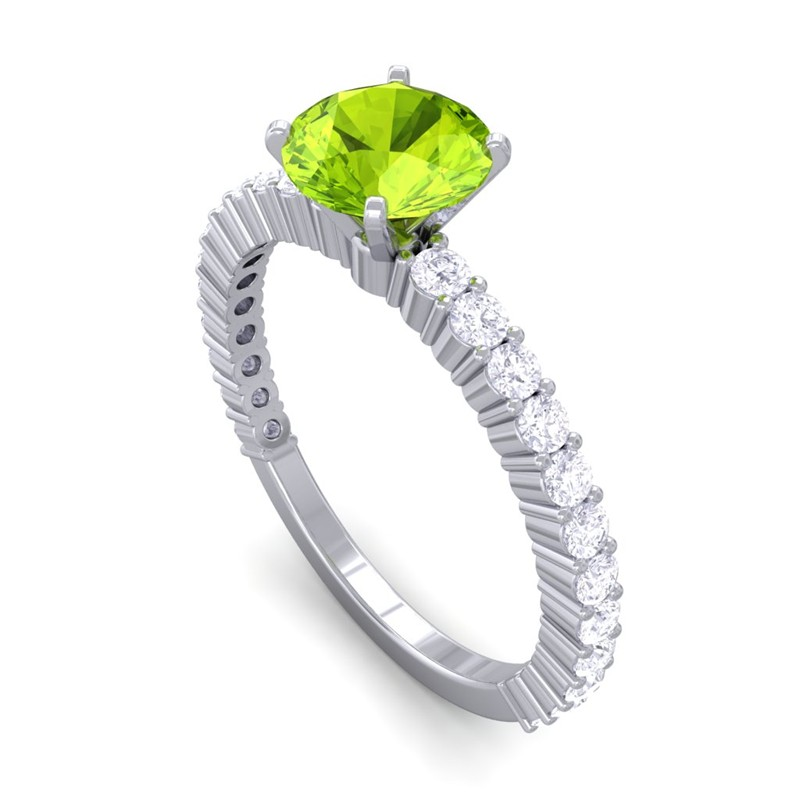 Green-Peridot-IJ-SI-Diamonds-Womens-Gemstone-Anniversary-Ring-White-Gold