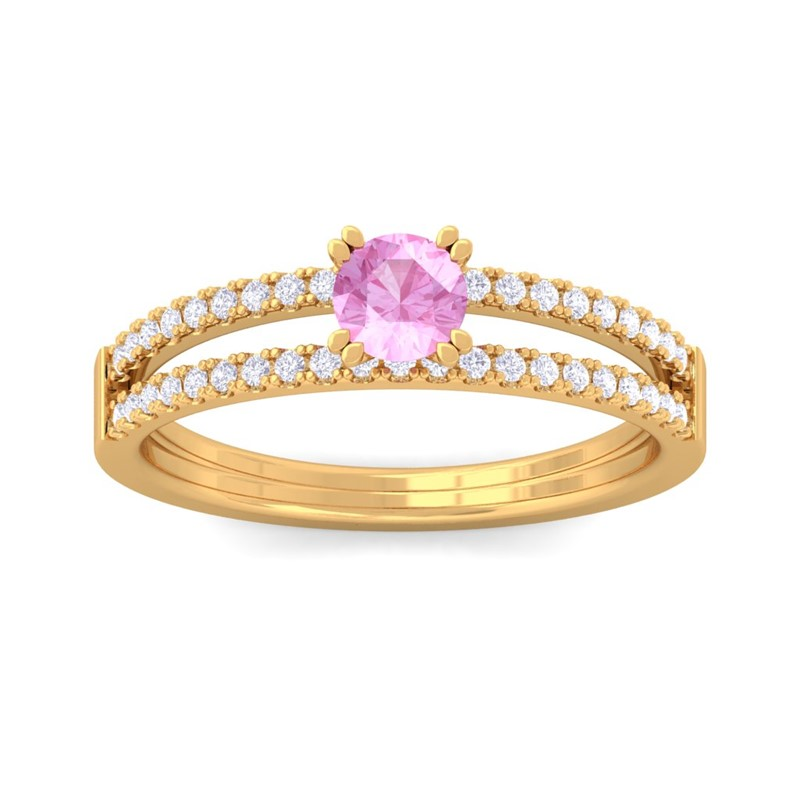 Pink-Sapphire-IJ-SI-Gemstone-Two-Lane-Sparkling-Diamonds-Ring-14K-Yellow-Gold